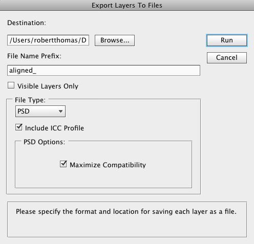Export to Layers Dialog Box