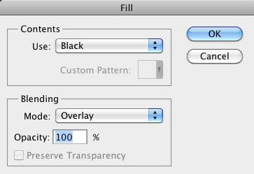 The Fill Dialog Box with Black color and Overlay Blend Mode selected