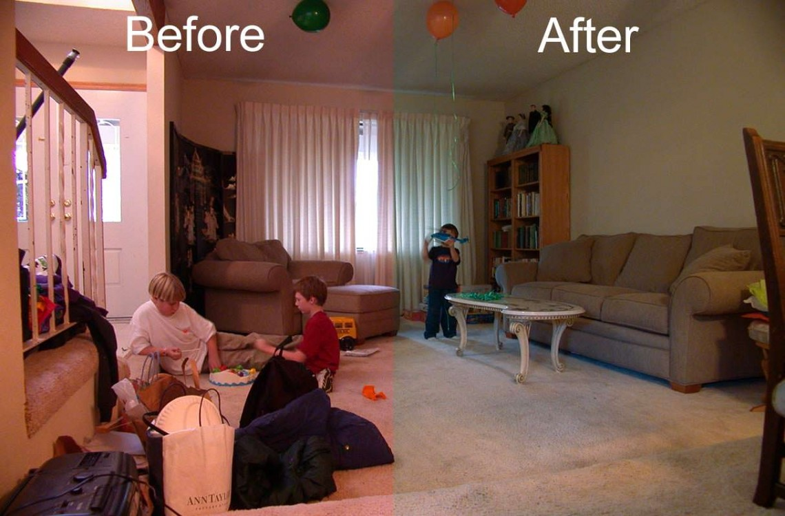 Before and after white balance adjustments
